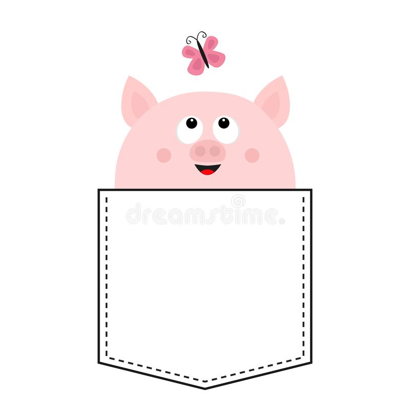 Pig face head in the pocket. Pink butterfly. Cute cartoon animals. Piggy piglet character. Dash line. White and black color. T-. Shirt design. Baby background vector illustration