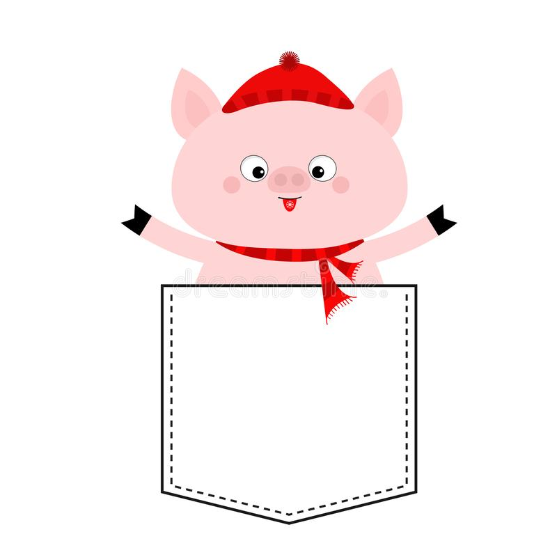 Pig face head in the pocket. Red hat, scarf. Cute cartoon animals. Piggy piglet character. Dash line. White and black color. T-. Shirt design. Baby background vector illustration