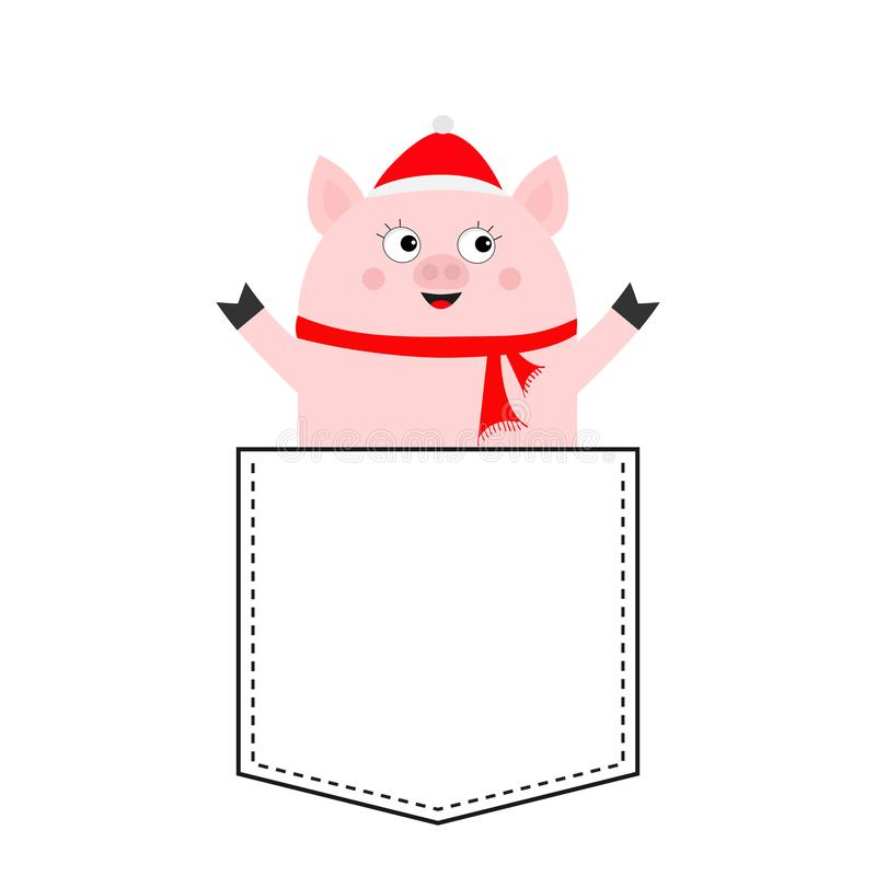 Pig face head in the pocket. Santa hat, scarf. Piggy piglet character. Cute cartoon animals. Dash line. White and black color. T-. Shirt design. Baby background stock illustration