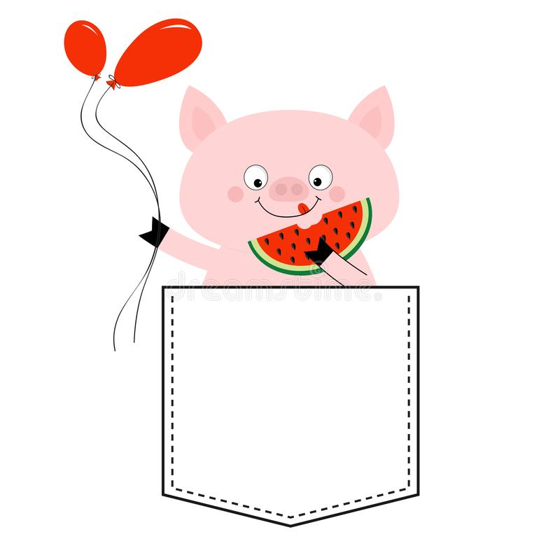 Pig face head in the pocket. Watermelon, balloons. Cute cartoon animals. Piggy piglet character. Dash line. White and black color. T-shirt design. Baby royalty free illustration