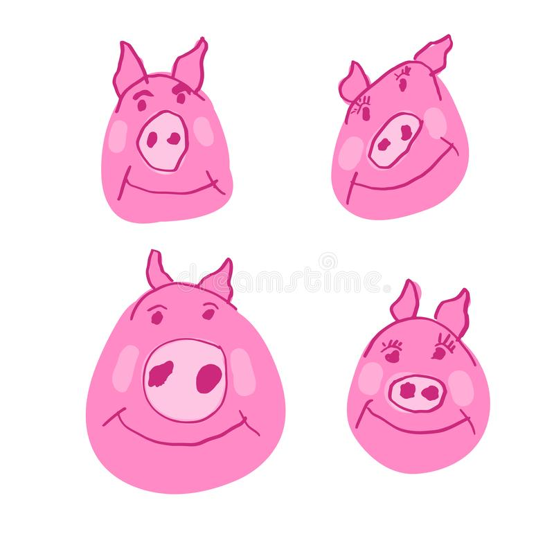 Pig Family in Doodle Style. Hand Drawn Pink Piglet, Piggy Face Characters Set, Rough Doodles Style. stock illustration