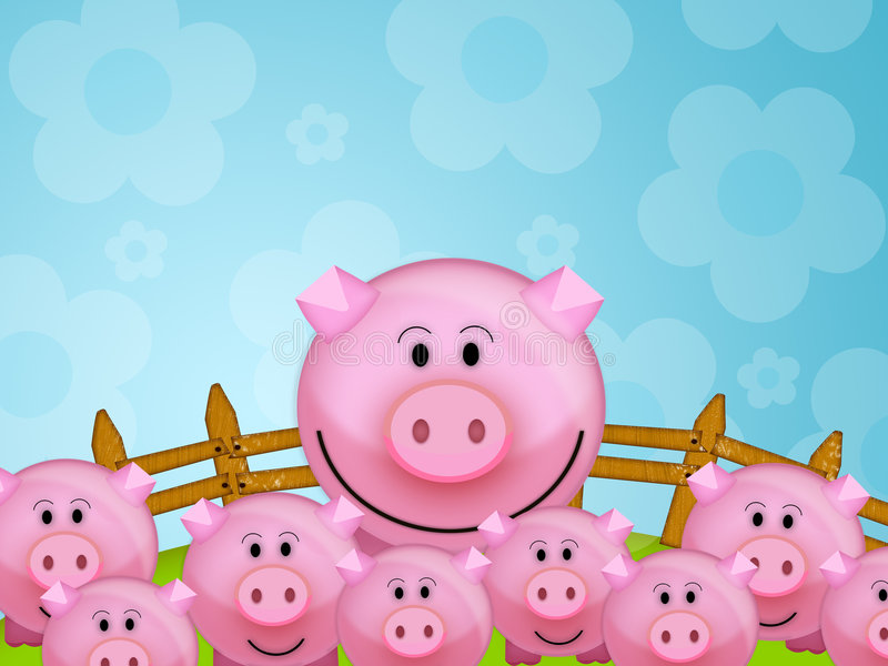 Download Pig in the farm stock illustration. Illustration of cute - 4699772