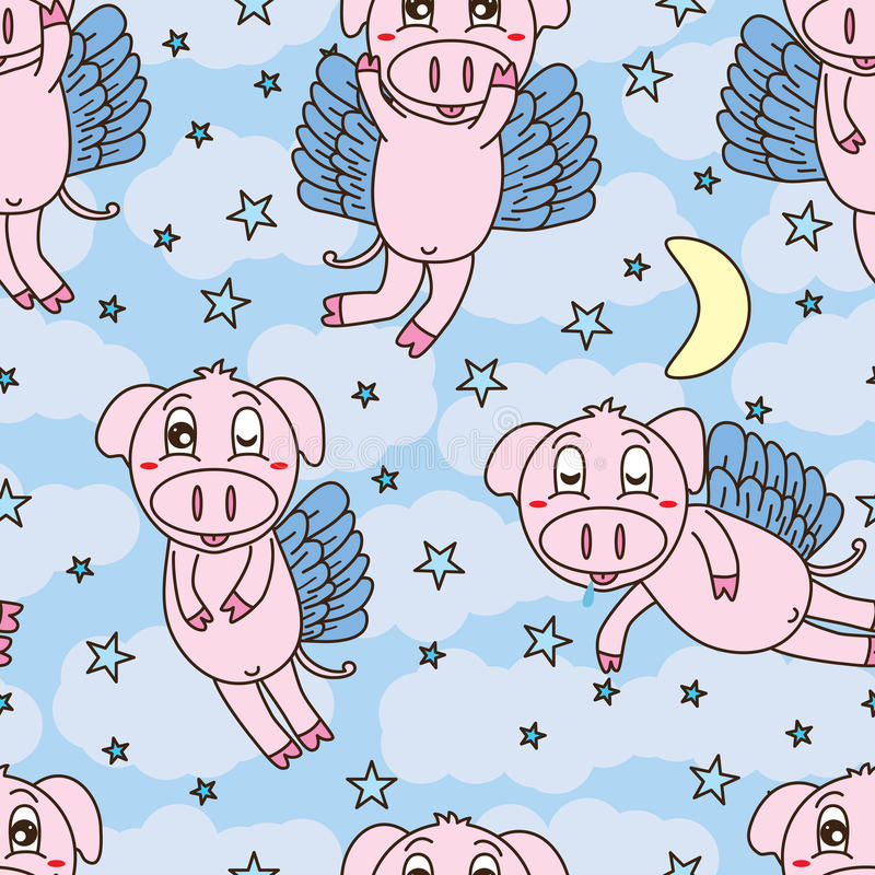 Pig fly sweet dream seamless pattern. Illustration cute pig wings fly sweet dream moon star cloud sky seamless pattern texture background graphic royalty free illustration