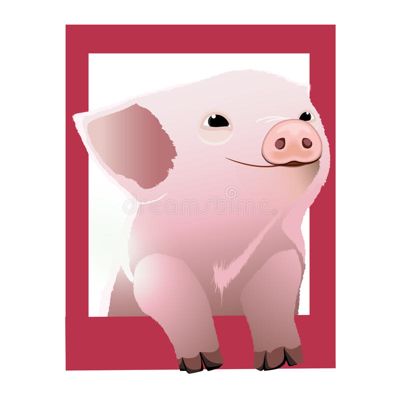 Pig in frame stock vector. Illustration of cute, animal - 86572318