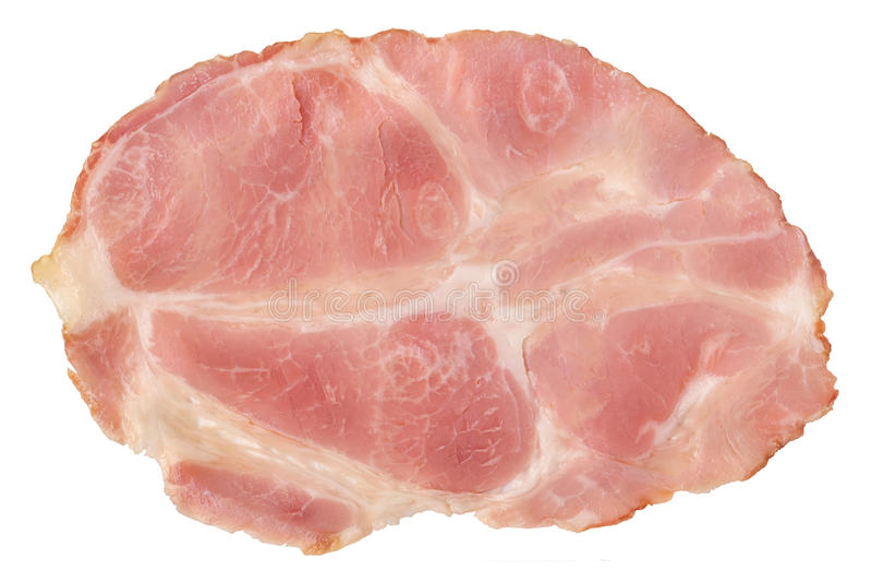 Pig Gammon Ham Slice Isolated on White Background. Slice of Pork Gammon Ham Isolated on White Background royalty free stock photography