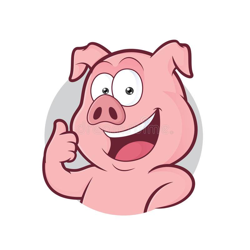 Pig giving thumbs up in round frame. Clipart picture of a pig cartoon character giving thumbs up in round frame royalty free illustration