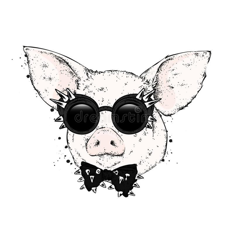 Pig in glasses and a tie with thorns. Vector illustration. stock illustration