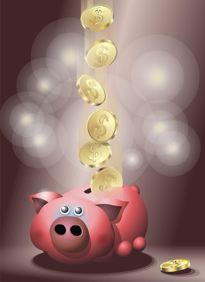 Download Pig with golden coins stock vector. Image of piggybank - 5241074