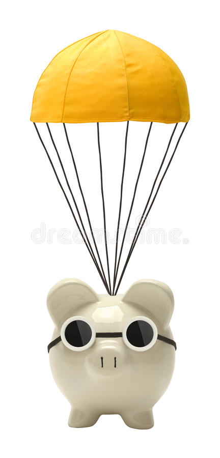 Pig and Golden Parachute. Piggy Bank Floating with Golden Parachute Isolated on White stock photo