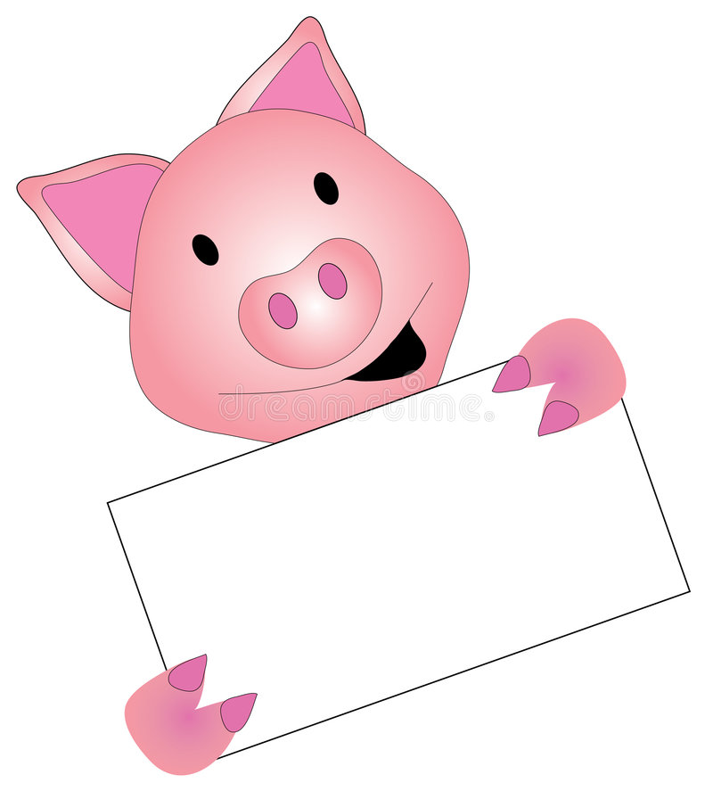 Pig Graphic Holding a Sign royalty free illustration