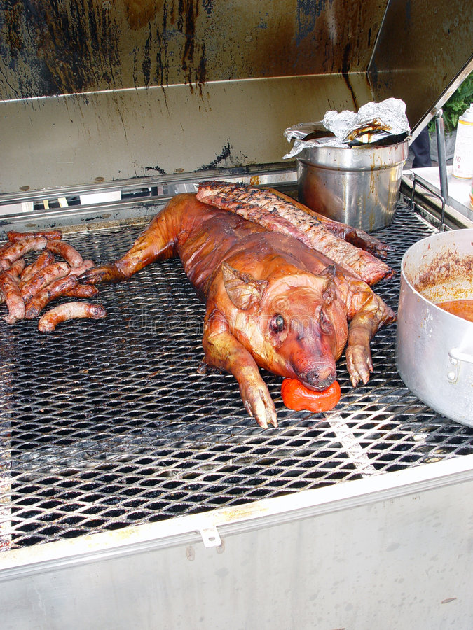 Pig on grill