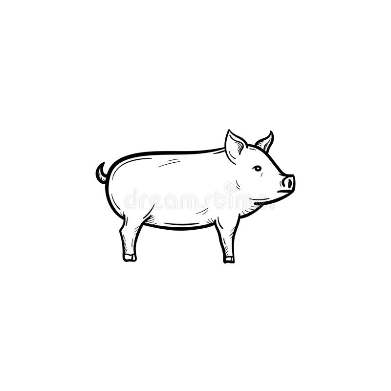 Pig hand drawn sketch icon. vector illustration