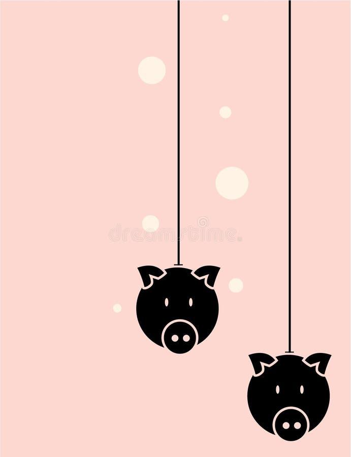 Pig head black and pink background stock illustration