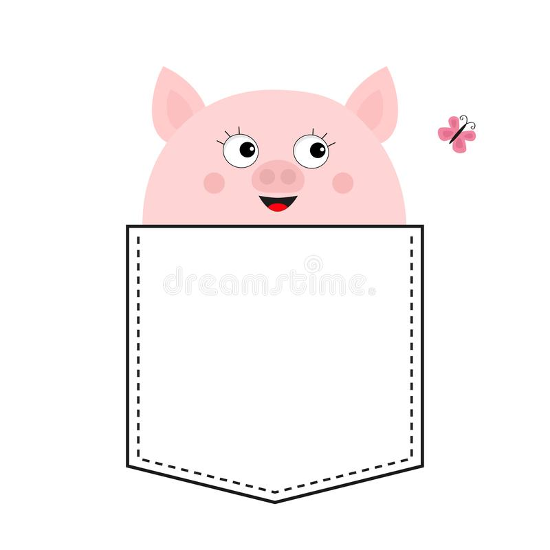 Pig head face in the pocket. Pink butterfly. Cute cartoon animals. Piggy piglet character. Dash line. White and black color. T-. Shirt design. Baby background stock illustration