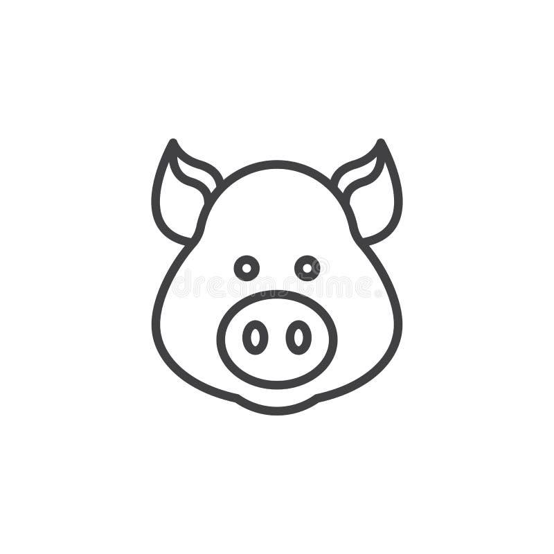 Pig head line icon, outline vector sign. Linear pictogram on white. Symbol, logo illustration vector illustration