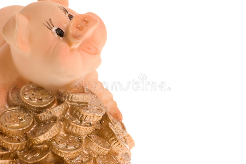 Download Pig on a heap of coins stock image. Image of finances - 7618317