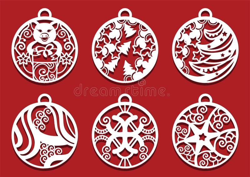 Pig holding gift inside Christmas ball. Symbol of 2019 for laser cutting.. Set of New Year decorations vector illustration