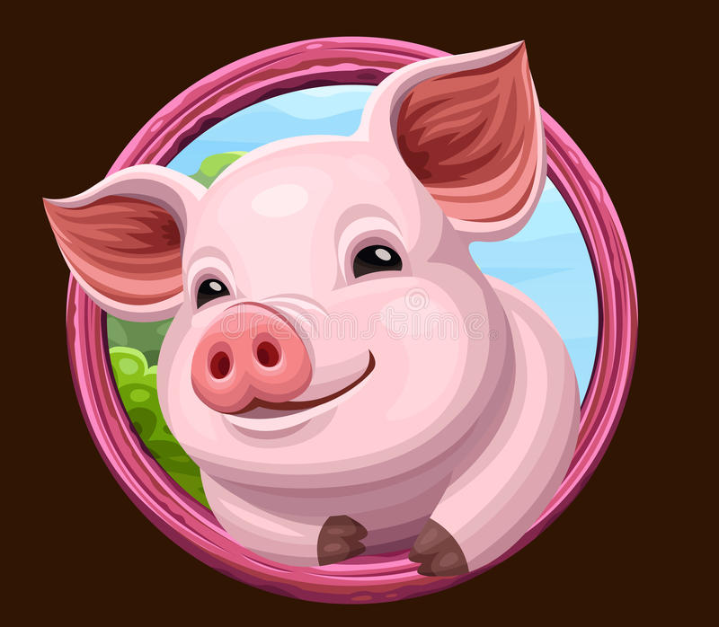 Pig icon with frame stock vector. Illustration of design - 93051092