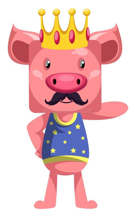 Pig is king, illustration, vector stock illustration