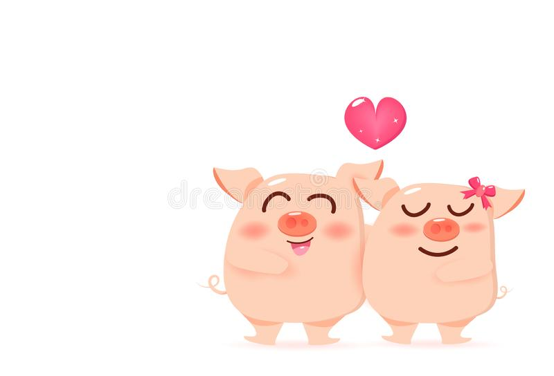 Pig loving couple with heart, mascot Valentines day, happiness cute cartoon character vector illustration on white background royalty free illustration