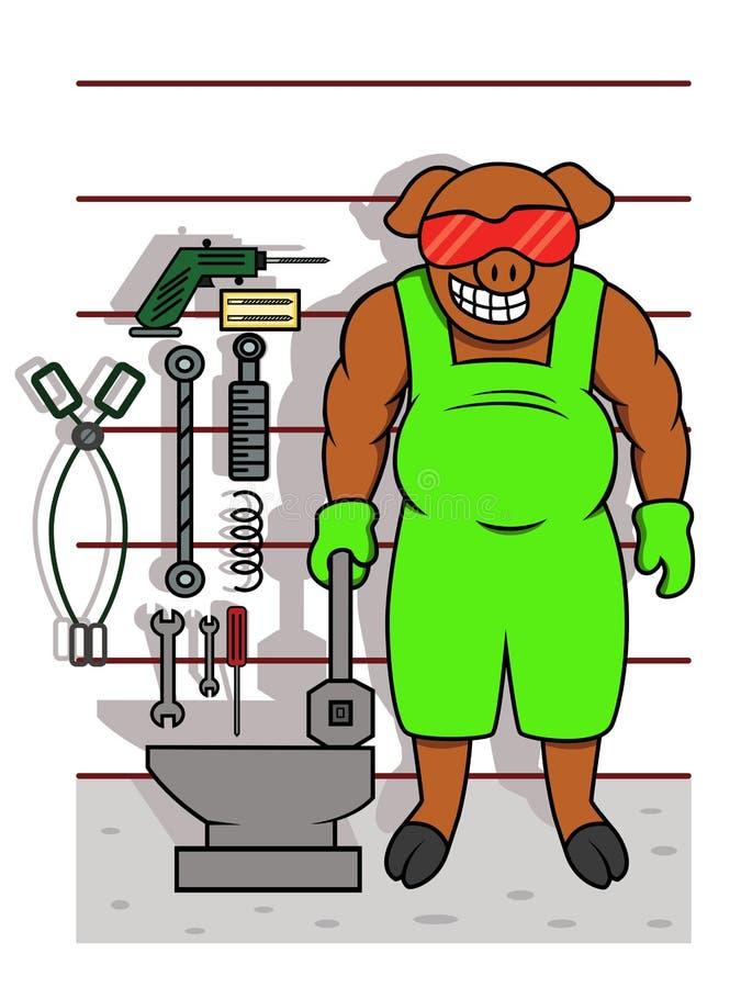 Pig Mechanic with Tools Cartoon royalty free illustration