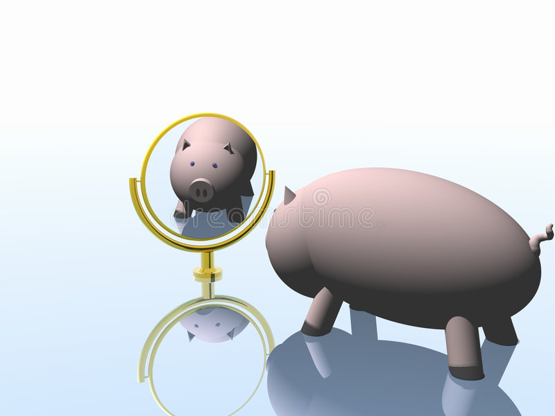 Pig before a mirror. 2007 vector illustration