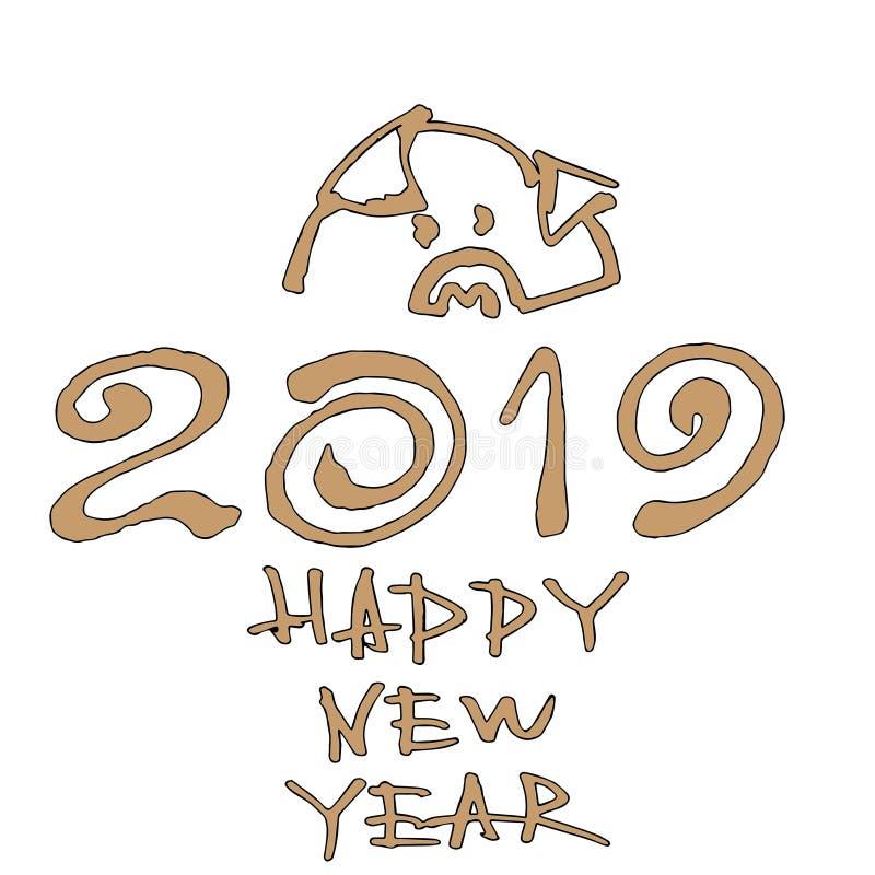 Pig mit einer Goldmünze Vektorillustration, 2019 Hand schriftliche Beschriftung Guten Rutsch ins Neue Jahr-Kartengestaltungseleme stock abbildung