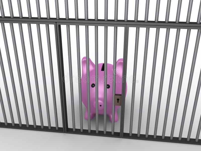 Pig money box in prison royalty free illustration