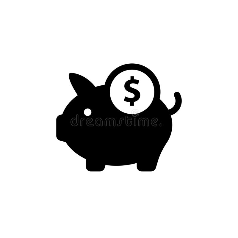 Pig Money Box, saving money icon flat vector eps10. Pig sign. royalty free illustration