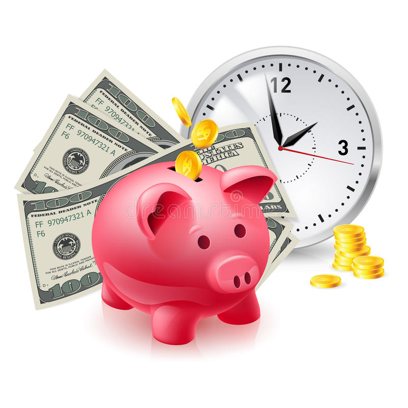 Pig Moneybox And Money Royalty Free Stock Photography