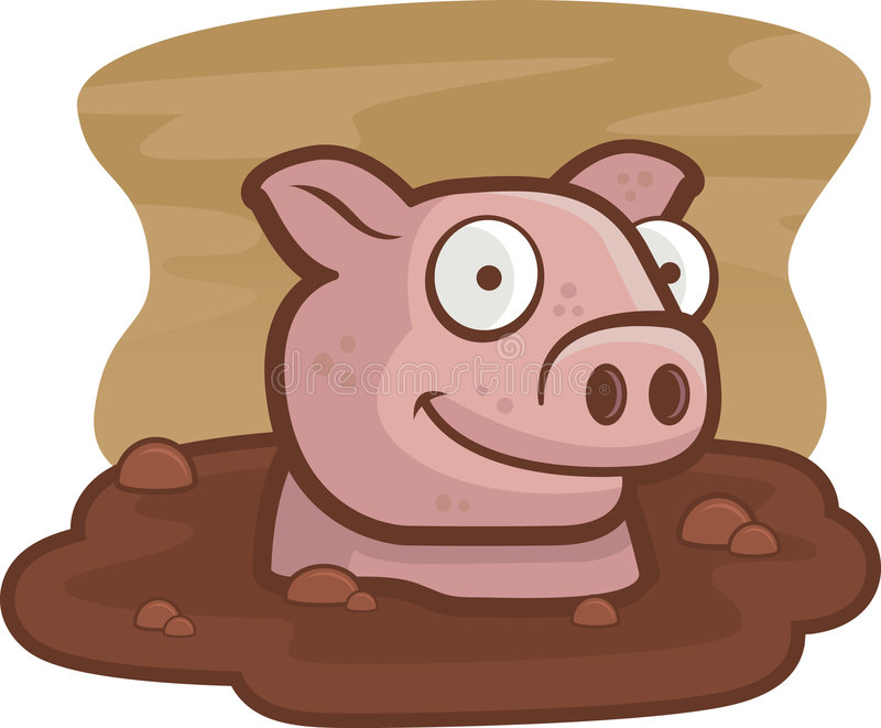 Download Pig in Mud stock vector. Illustration of clip, wallow - 2032334