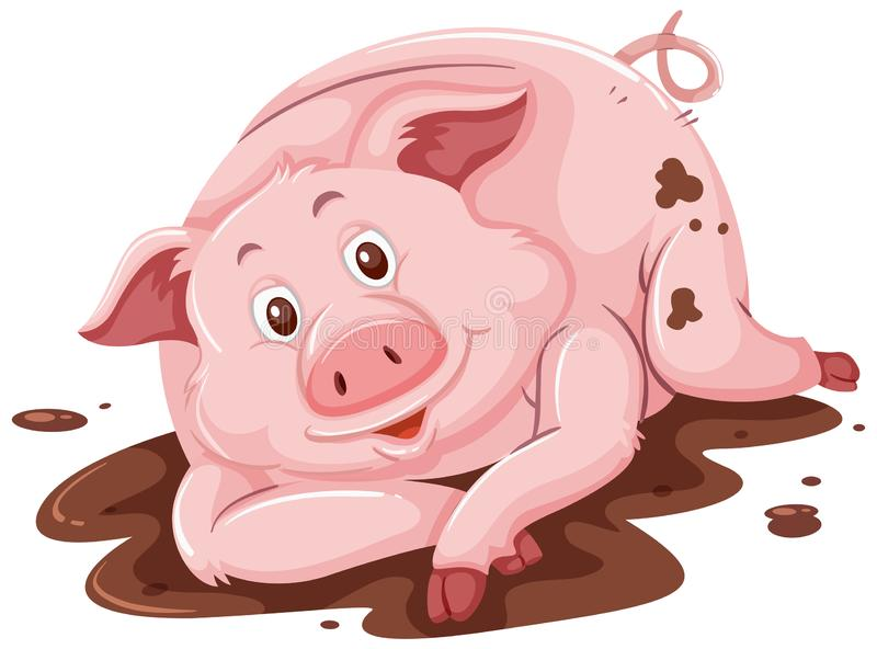 Pig in the mud stock illustration