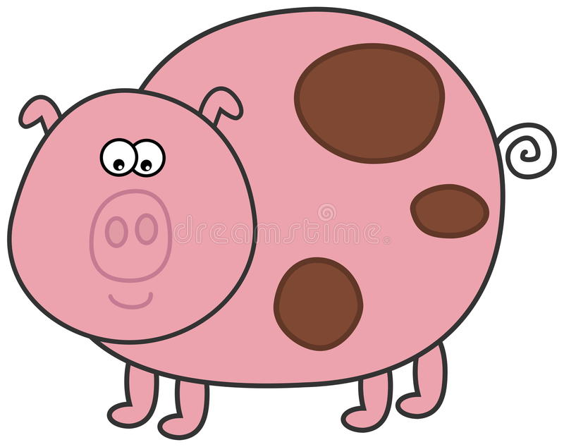 A pig with muddy royalty free illustration