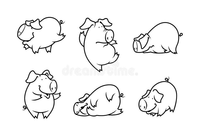 Cute pig set stock illustration