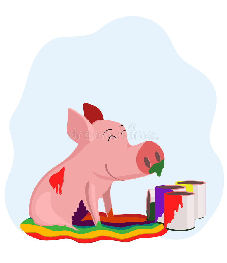 Pig in the paint royalty free illustration