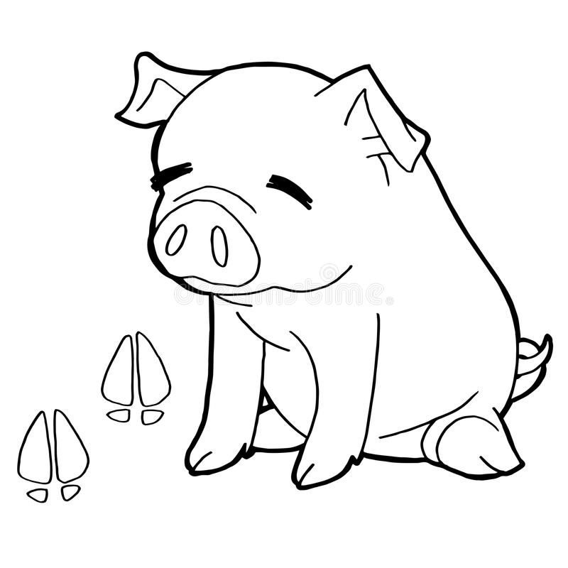 Pig with paw print Coloring Pages vector. Image of pig with paw print Coloring Pages vector vector illustration