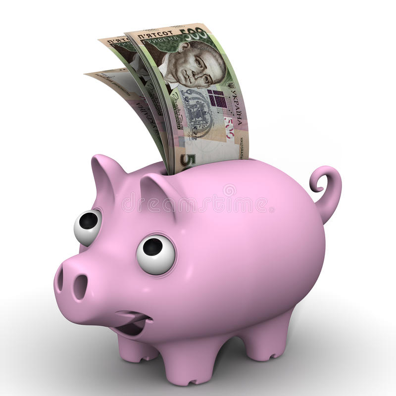 Pig piggy bank with banknotes of the Ukrainian hryvnia. Pink pig piggy bank with banknotes of the Ukrainian hryvnia on white surface. Financial concept vector illustration