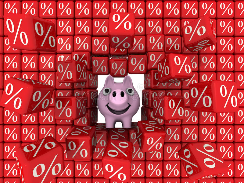Pig piggy bank break a wall of cubes with the percent symbol vector illustration
