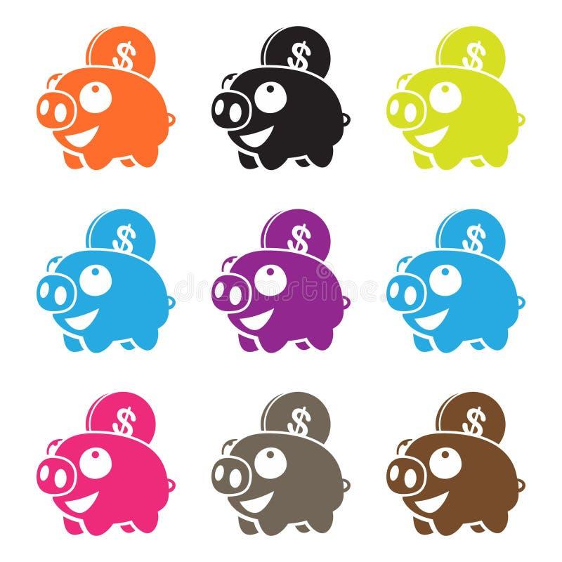 Pig piggy bank , mutiple color. Adobe ilustrator CS 6 aviliable vector illustration