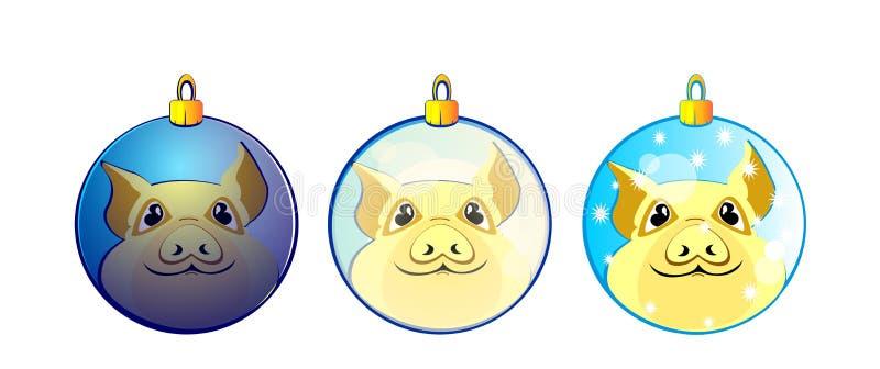 Pig, piggy, decor balls, new year, symbol 2019, 2019, new year tree decor, toy, yellow, funny, coloured, vector, illustration, stock illustration