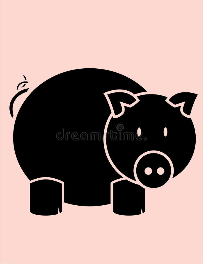 Pig on pink background vector illustration