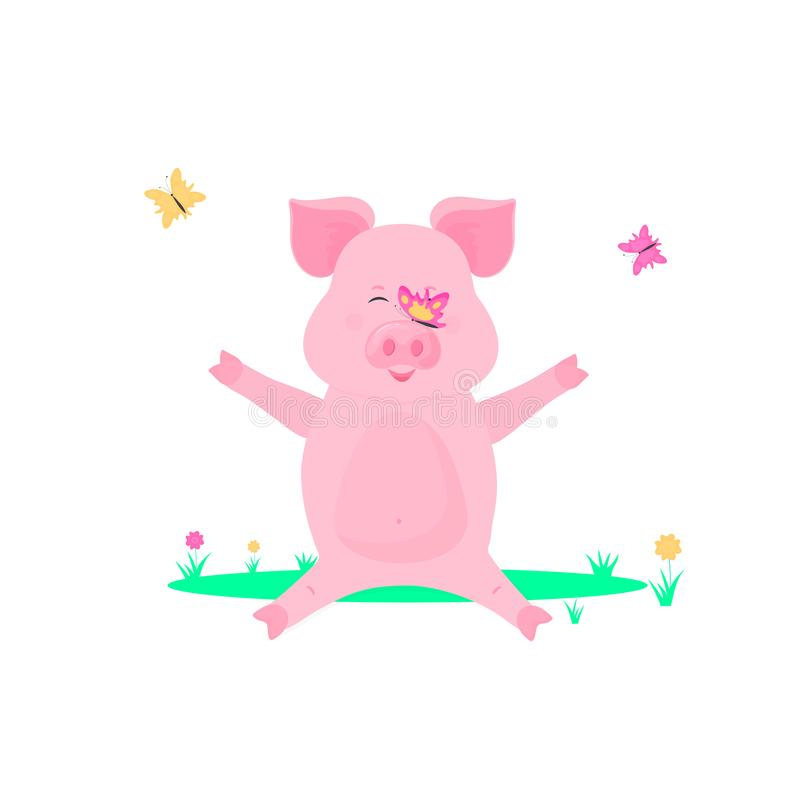 Pig playing with butterflies on the lawn. Little piggy sitting on the grass.  vector illustration