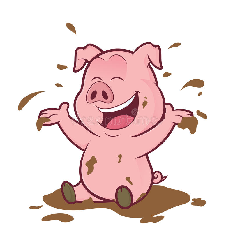 Pig playing in the mud royalty free illustration
