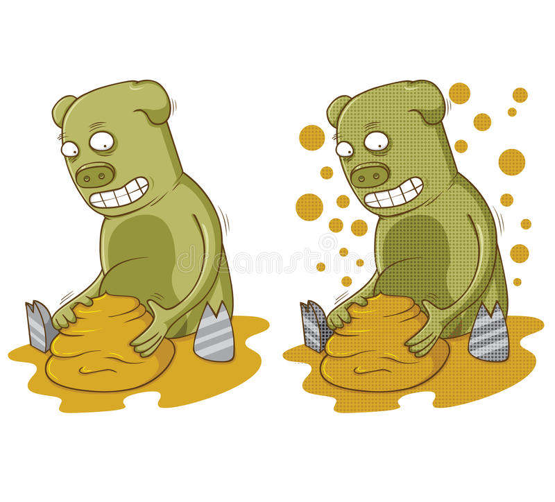 Pig plays with mud. In vector eps 10 file vector illustration