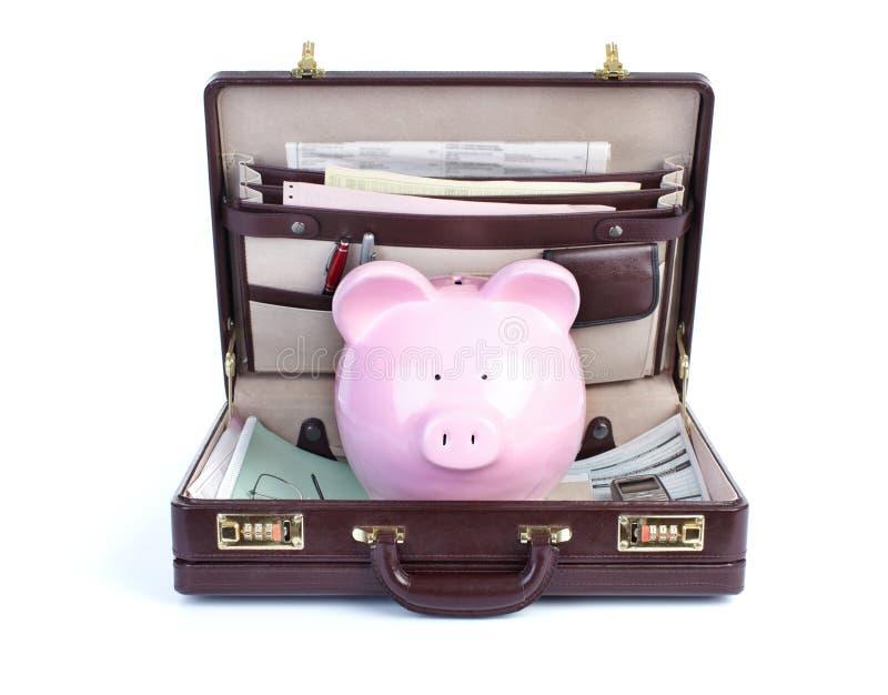 Pig and portfolio. On a white background stock image