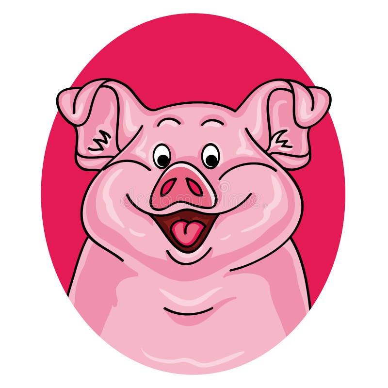 Pig portrait on white background royalty free illustration