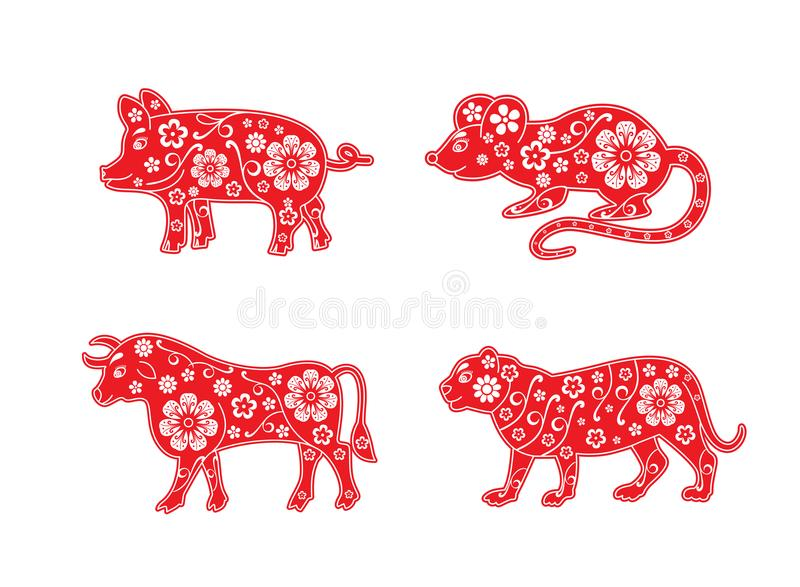 Pig, rat, bull and tiger, mouse, cow. Chinese Horoscope animal set 2019, 2020, 2021 and 2022 years. Flower decorative element. vector illustration