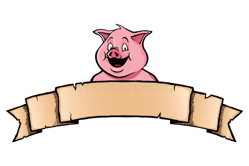Download Pig with ribbon banner stock vector. Illustration of banner - 33026162