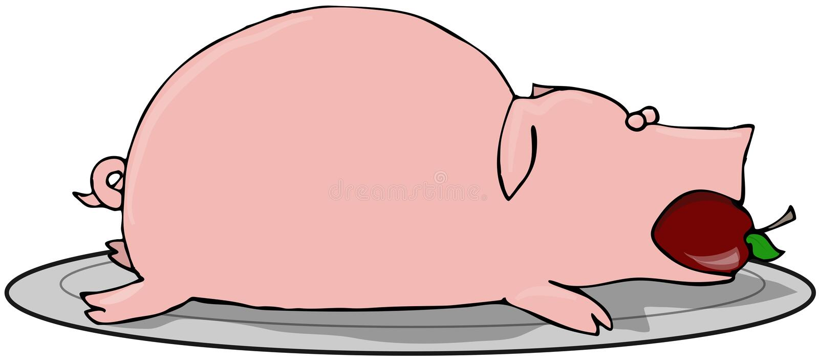 Download Pig Roast stock illustration. Image of cooked, plate, dinner - 9524735