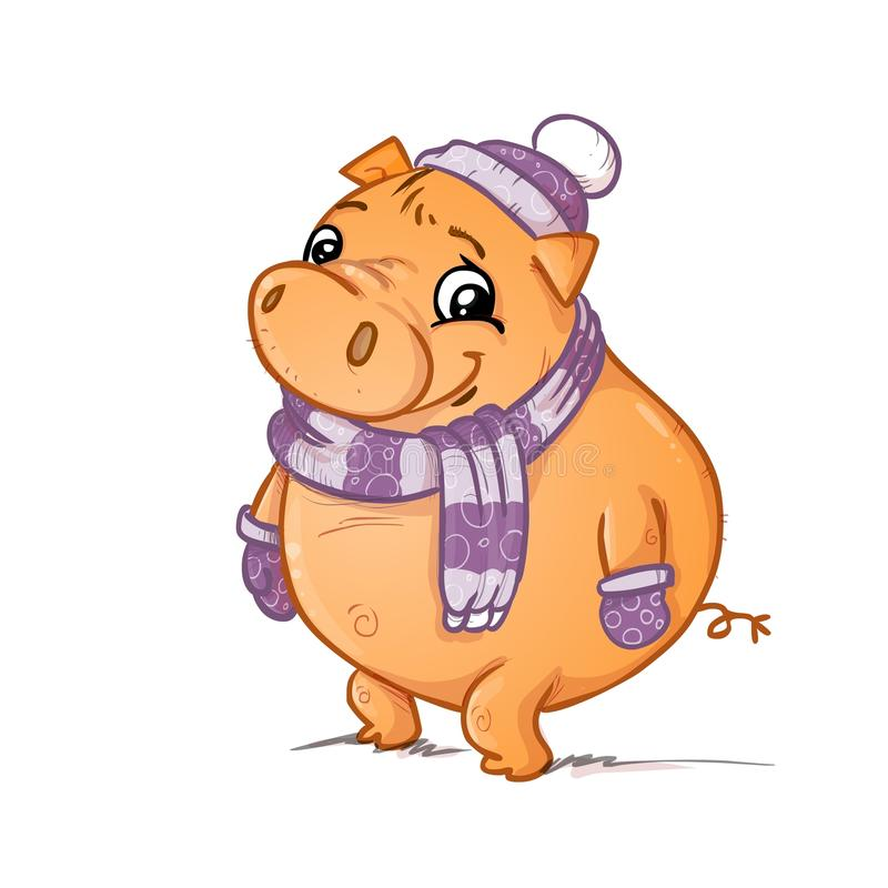 A pig with scarf gloves and hat. A pig on snow with scarf gloves and hat illustration royalty free illustration